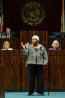 TALLAHASSEE, FLA. 3/5/13-OPENING030513CH-Dressed to portray Harriet Tubman, Senator Geraldine Thompson, D-Orlando, talks about Tubman and her role guiding so many slaves to freedom during the opening day of the 2013 legislative session Tuesday at the Capitol in Tallahassee, Fla...COLIN HACKLEY PHOTO