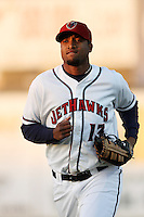 Domingo Santana #13 of the Lancaster JetHawks during a game against the Bakersfield Blaze at Clear Channel Stadium on May 7, 2012 in Lancaster,California. (Larry Goren/Four Seam Images)
