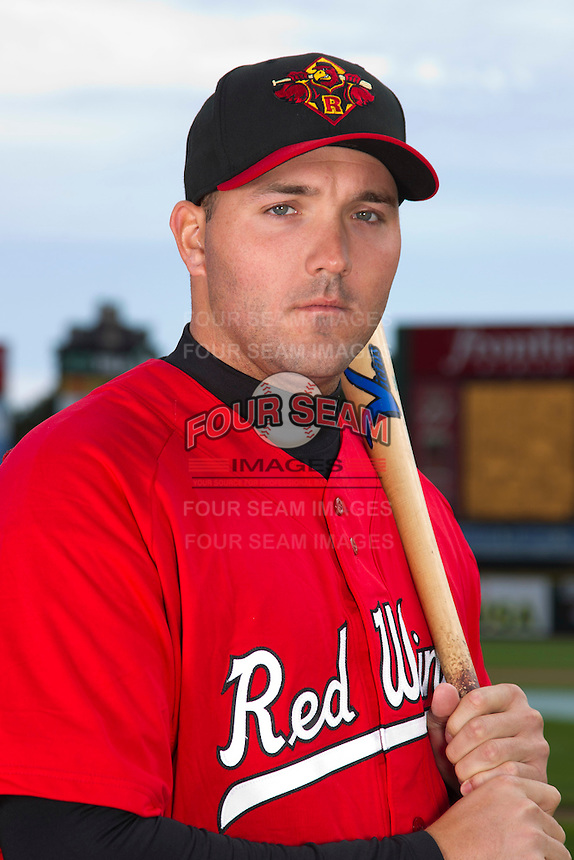 Rochester Red Wings first baseman Matt Rizzotti #44 poses for a photo during media day at Frontier Field on April 3, 2012 in Rochester, New York.  (Mike Janes/Four Seam Images)