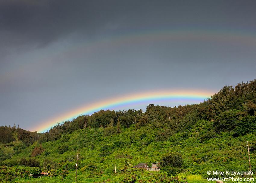 Rainbow above green trees on Pupukea Hill, North Shore, Oahu