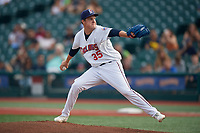 Brooklyn Cyclones pitcher Garrison Bryant (35) during a NY-Penn League game against the Tri-City ValleyCats on August 17, 2019 at MCU Park in Brooklyn, New York.  The game was postponed due to inclement weather, Brooklyn defeated Tri-City 2-1 in the continuation of the game on August 18th.  (Mike Janes/Four Seam Images)