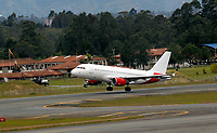 RIONEGRO, COLOMBIA - MAY 12: An airplane of the Avianca airline prepares to take off on the runway of the José María Córdoba International Airport on May 12, 2020 in Rionegro. Avianca filed for bankruptcy in the United States on May 11, 2020 to reorganize its debt due to the impact of the coronavirus pandemic. (Photo by Fredy Builes / VIEWpress via Getty Images)
