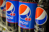 Bottles of Pepsi in a grocery store in New York on Tuesday, February 14, 2017. PepsiCo announced it will report its fourth-quarter earnings on Wednesday prior to the opening of the market. (© Richard B. Levine)