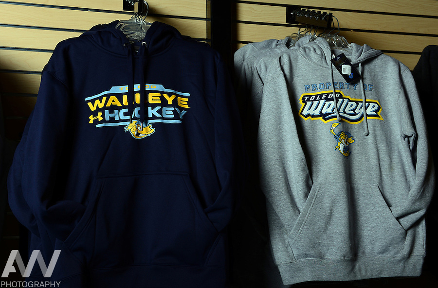 Oct 19, 2012; Toledo, OH, USA; Toledo Walleye merchandise against the Cincinnati Cyclones at Huntington Center: Mandatory Credit: Andrew Weber