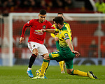 Andreas Pereira of Manchester United tacked by Grant Hanley of Norwich City during the Premier League match at Old Trafford, Manchester. Picture date: 11th January 2020. Picture credit should read: James Wilson/Sportimage