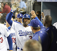 September 24, 2014 Los Angeles, CA: Los Angeles Dodgers left fielder Carl Crawford #3 during an MLB game between the San Francisco Giants and the Los Angeles Dodgers played at Dodger Stadium The Dodgers defeated the Giants 9-1 to win the National League West Title.