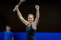 Alphen aan den Rijn, Netherlands, December 22, 2019, TV Nieuwe Sloot,  NK Tennis, Final womans single: Querine Lemoine (NED) celebrates her victory<br /> Photo: www.tennisimages.com/Henk Koster