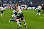 17.01.2020, VELTINS-Arena, Gelsenkirchen, GER, DFL, 1. BL, FC Schalke 04 vs Borussia Moenchengladbach, DFL regulations prohibit any use of photographs as image sequences and/or quasi-video<br /> <br /> im Bild / picture shows / v. li. im Zweikampf Daniel Caligiuri (#18, FC Schalke 04) Oscar Wendt (#17, Borussia Moenchengladbach) <br /> <br /> Foto © nordphoto/Mauelshagen