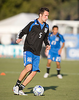 22 May 2008: Ryan Cochrane of the Earthquakes warms up before the game against the Dynamos at Buck Shaw Stadium in San Jose, California.   San Jose Earthquakes defeated Houston Dynamo, 2-1.
