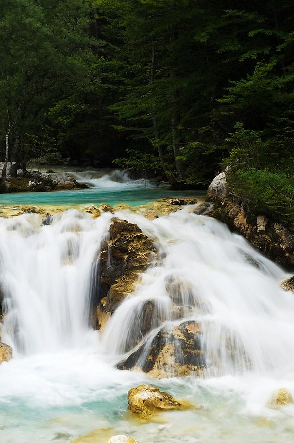 River Zadnjica, cascades<br /> Triglav National Park, Slovenia<br /> July 2009