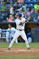 Asheville Tourists center fielder Eric Toole (14) awaits a pitch during a game against the West Virginia Power at McCormick Field on May 10, 2017 in Asheville, North Carolina. The Tourists defeated the Power 4-3. (Tony Farlow/Four Seam Images)
