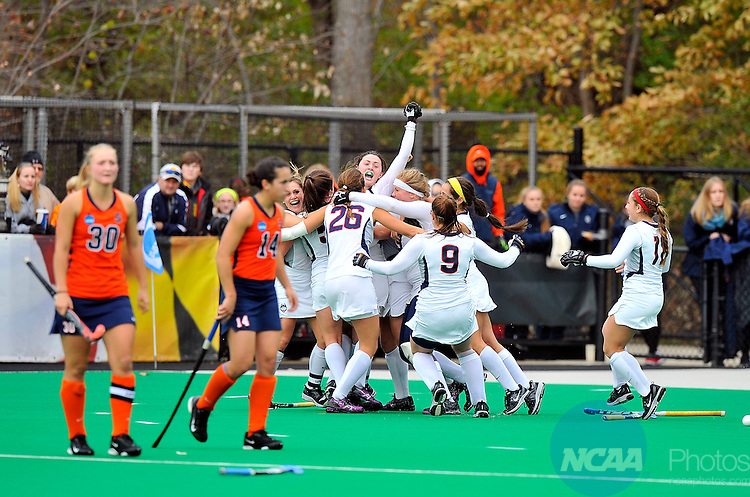 23 NOVEMBER 2014:   The University of Connecticut celebrates a victory over Syracuse University during the Division I Women's Field Hockey Championship held at the Field Hockey & Lacrosse Complex in College Park, MD. Uconn defeated Syracuse 1-0 for the national title.  Greg Fiume/NCAA Photos
