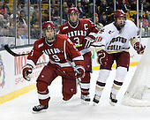 Danny Biega (Harvard - 9), Alex Biega (Harvard - 3), Jimmy Hayes (BC - 10) - The Boston College Eagles defeated the Harvard University Crimson 6-0 on Monday, February 1, 2010, in the first round of the 2010 Beanpot at the TD Garden in Boston, Massachusetts.