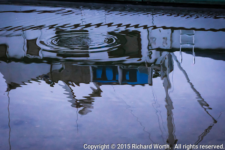A sailboat reflects on water rippled by the disappearance of a diving duck.