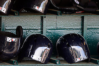 Atlanta Braves helmets sitting in the dugout before a Spring Training game against the Detroit Tigers at Joker Marchant Stadium on February 27, 2013 in Lakeland, Florida.  Atlanta defeated Detroit 5-3.  (Mike Janes/Four Seam Images)