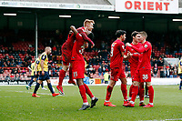 O's James Brophy(with Ebou Adams) cross causes Ebbsfleets Kenny Clark to score an own goal during Leyton Orient vs Ebbsfleet United, Vanarama National League Football at the Matchroom Stadium on 10th March 2018