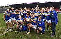 Picture by Anna Gowthorpe/SWpix.com - 15/04/2018 - Rugby League - Womens Super League - Bradford Bulls v Leeds Rhinos - Coral Windows Stadium, Bradford, England - Leeds Rhinos celebrate their victory