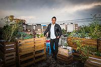 Miguel Ramirez, huerta urbano, urban farm.  Doctores, Mexico City