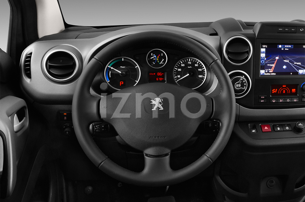 Car pictures of steering wheel view of a 2018 Peugeot Partner Tepee Electric Allure 5 Door Mini Van