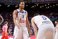 Real Madrid's Anthony Randolph and Rudy Fernandez during Turkish Airlines Euroleague match between Real Madrid and CSKA Moscow at Wizink Center in Madrid, Spain. January 06, 2017. (ALTERPHOTOS/BorjaB.Hojas)