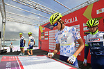 Odd Christian Eiking (NOR) Wanty-Gobert Cycling Team wearing the Maglia Bianca today at sign on before the start of Stage 4 of Il Giro di Sicilia 2019 running 119km from Giardini Naxos to Mount Etna (Nicolosi), Italy. 6th April 2019.<br /> Picture: LaPresse/Massimo Paolone | Cyclefile<br /> <br /> All photos usage must carry mandatory copyright credit (&copy; Cyclefile | LaPresse/Massimo Paolone)