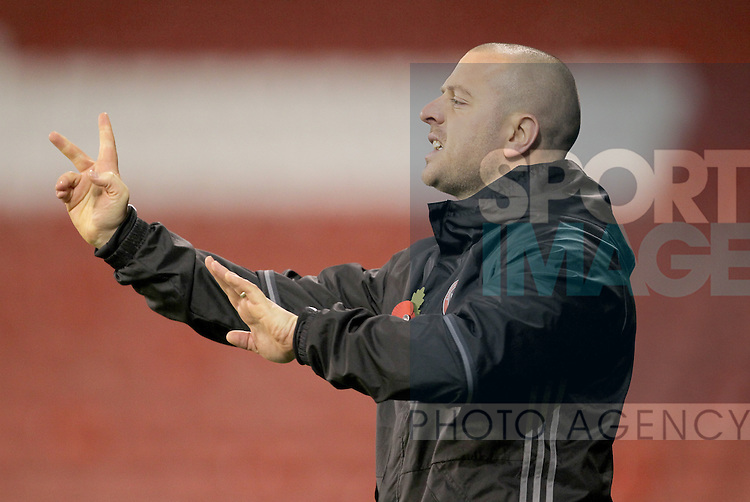 Sheffield United's Academy manager Travis Binnion during the FA Youth Cup First Round match at Bramall Lane Stadium, Sheffield. Picture date: November 1st 2016. Pic Richard Sellers/Sportimage