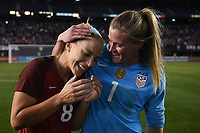 San Diego, CA - Sunday January 21, 2018: Julie Ertz, Alyssa Naeher during an international friendly between the women's national teams of the United States (USA) and Denmark (DEN) at SDCCU Stadium.