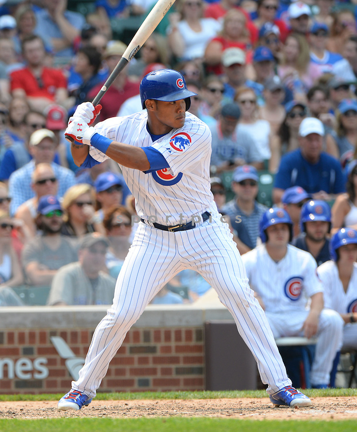 Chicago Cubs Addison Russell (22) during a game against the Miami Marlins on July 5, 2015 at Wrigley Field in Chicago, IL. The Cubs beat the Marlins 2-0.