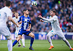Theo Hernandez (R) of Real Madrid fights for the ball with Ruben Sobrino Pozuelo of Deportivo Alaves during the La Liga 2017-18 match between Real Madrid and Deportivo Alaves at Santiago Bernabeu Stadium on February 24 2018 in Madrid, Spain. Photo by Diego Souto / Power Sport Images