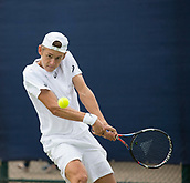 June 11th 2017, Nottingham, England; ATP Aegon Nottingham Open Tennis Tournament day 2;  Alex De Minaur of Australia plays a backhand