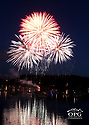 Fireworks exploding over Liberty Bay, Poulsbo, WA