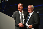 Christian Prudhomme ASO Tour Director with Yves Audinet, President Vendee Departement, on stage at the Tour de France 2018 route presentation held at Palais de Congress, Paris, France. 17th October 2017.<br /> Picture: ASO/Bruno Bade | Cyclefile<br /> <br /> <br /> All photos usage must carry mandatory copyright credit (&copy; Cyclefile | ASO/Bruno Bade)