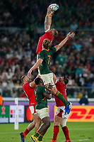 27th October 2019, Oita, Japan;  Ross Moriarty of Wales and Pieter-Steph du Toit of South Africa battle for the ball in a lineout during the 2019 Rugby World Cup semi-final match between Wales and South Africa at International Stadium Yokohama in Kanagawa, Japan on October 27, 2019.  - Editorial Use