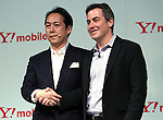 January 18, 2017, Tokyo, Japan - Google Inc vice president Jamie Rosenberg (R) shakes hands with Japanese telecom giant Softbank vice president Hiroyuki Terao as the new Android One smartphones are unveiled at a promotional event of Y!mobile, a subsidiary of Softbank in Tokyo on Wednesday, January 18, 2017. Japanese singer-songwriter Pikotaro performed at the event.   (Photo by Yoshio Tsunoda/AFLO) LWX -ytd