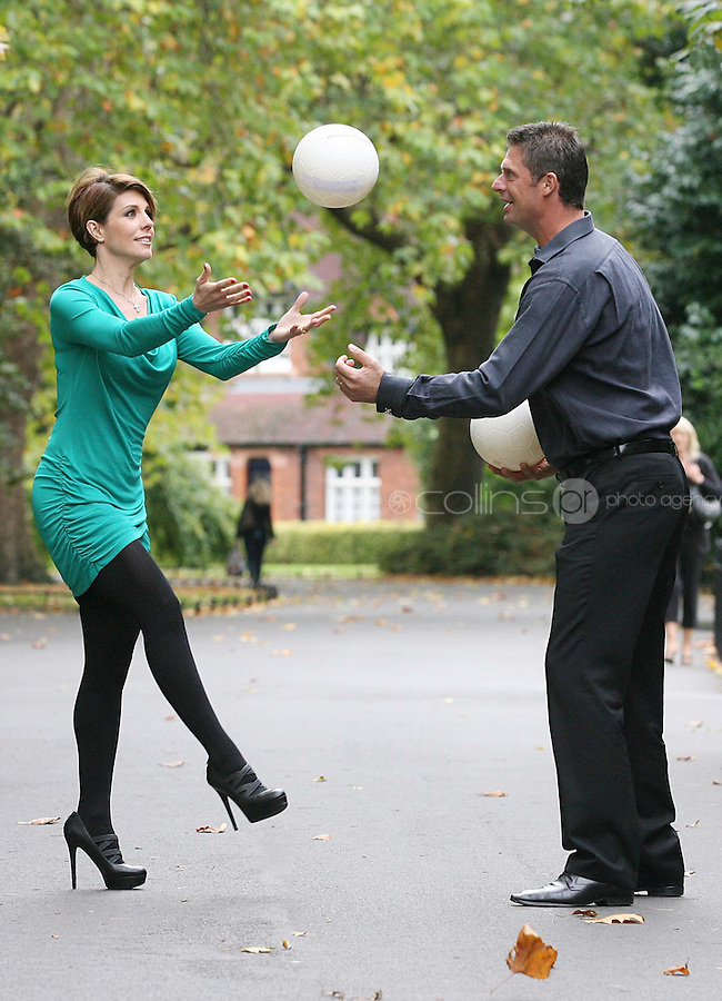 18/10/2010. Niall and Gillian Quinn launch prostate cancer awareness. Niall and Gillian are pictured in St Stephen's Green Dublin having a kick-around and shout the prostate cancer awareness message to show their support for this important healthcare campaign. What You Don't Knowa Public Awareness Campaignby the Mater Private, which aims toeducate on the symptoms and treatment of prostate cancer and promote early diagnosis of the disease. InIreland, prostate cancer is the second most common cancer in men, after skin cancer, and 1 in 12 Irish men will be diagnosed with prostate cancer during their lifetime and 1 in 34 men will die from the disease. Picture James Horan/Collins Photos