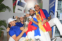 Tommy Fleetwood, Thomas Pieters, Matthew Fitzpatrick, Alexander Levy and Rafa Cabrera Bello with the Eurasia Cup after Team Europe overcame Asia 14/10 at Glenmarie Golf and Country Club on the Sunday 14th January 2018.<br /> Picture:  Thos Caffrey / www.golffile.ie