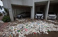 Marine debris and plastics pollution is seen on a public housing estate during the aftermath of the passing of Typhoon Hato, Heng Fa Chuen, Hong Kong, China, 23 August 2017.<br /> ALEX HOFFORD