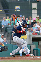 Salem Red Sox infielder Jerry Downs (30) at bat during a game against the Myrtle Beach Pelicans at Ticketreturn.com Field at Pelicans Ballpark on June 8, 2018 in Myrtle Beach, South Carolina. Myrtle Beach defeated Salem 5-4. (Robert Gurganus/Four Seam Images)