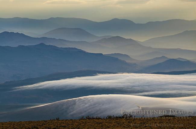 Morning ground fog seen below the Bodie Hills near Conway Summit, Mono County, Eastern Sierra, California