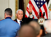 Vice President Mike Pence delivers remarks to High Intensity Drug Trafficking Area (HIDA) directors and deputy directors in the Indian Treaty Room of the Eisenhower Executive Office Building on the White House grounds, Washington, DC, February 7, 2019.<br /> Credit: Martin H. Simon / CNP