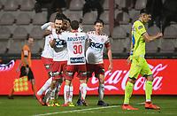KV KORTRIJK - AA GENT :<br /> spelers van KV Kortrijk vieren de gelijkmaker van Idir Ouali<br /> <br /> Foto VDB / Bart Vandenbroucke