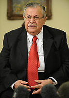 Washington, DC - June 25, 2008 -- The President of Iraq Jalal Talabani makes comments to the news media after a meeting with United States President George W. Bush in the Oval Office of the White House in Washington, D.C. USA 25 June 2008. A roadside bombing killed three U.S. soldiers yesterday in northern Iraq, bringing the number of American troop deaths this week in the country to seven.<br /> CAP/MPI/CNP/RS<br /> &copy;RS/CNP/MPI/Capital Pictures