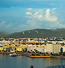 Aerial view of the Ibiza Town waterfront. <br /> With Mountains and  Glass Bottom Boat tours