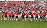 14 April 2012: The Chivas USA team  during the opening ceremonies in a game between Chivas USA and Toronto FC at BMO Field in Toronto..Chivas USA won 1-0..