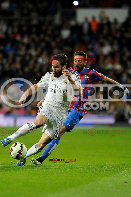 Real Madrid´s Daniel Carvajal and Levante UD´s Jose Luis Morales Nogales during 2014-15 La Liga match between Real Madrid and Levante UD at Santiago Bernabeu stadium in Madrid, Spain. March 15, 2015. (ALTERPHOTOS/Luis Fernandez) /NORTEphoto.com