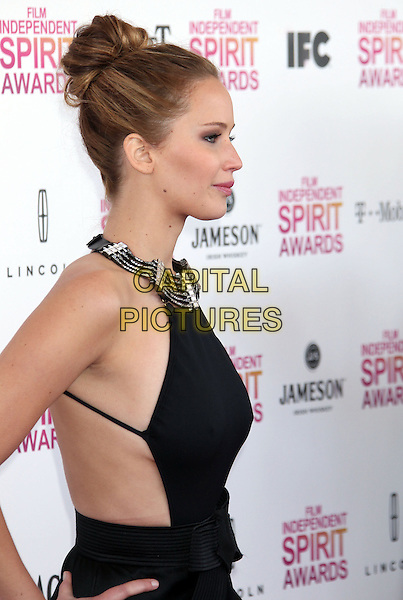Jennifer Lawrence.2013 Film Independent Spirit Awards - Arrivals Held At Santa Monica Beach, Santa Monica, California, USA,.23rd February 2013..indy indie indies indys half length dress bow cut out hair up silver black collar halterneck side profile .CAP/ADM/RE.©Russ Elliot/AdMedia/Capital Pictures