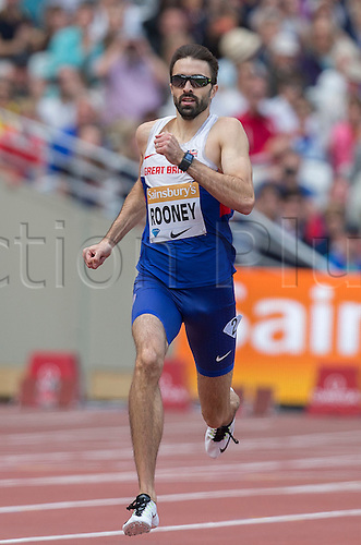 25.07.2015.Queen Elizabeth Olympic Park, London, England. Sainsburys Anniversary Games. Martyn Rooney (GBR) running in the Men's 400m.