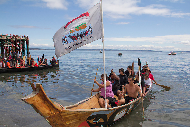 Canoe Journey, Paddle to Nisqually, 2016, Quinault canoes, landing, Port Townsend, Fort Worden, Olympic Peninsula, Puget Sound, Salish Sea, Washington State, USA,