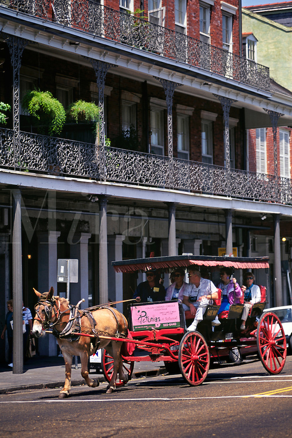 Tourists Ride In Horse Drawn Carriage In French Quarter; New Orleans, Louisian