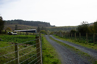 Pictured: The area near the property where a three year old boy died in Llanybydder, west Wales, UK. Tuesday 23 October 2018<br /> Re: A three-year-old boy has died after being hit by a vehicle at a property in Carmarthenshire, Wales, UK.<br /> Dyfed-Powys Police are investigating the incident near Llanybydder on Sunday.<br /> The child, named locally as Evan Williams, died at the scene and the family are being supported by specially trained officers.